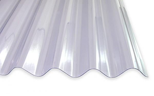 1,2 mm PVC-Lichtplatten für Bitumwellplatten | klar-bläulich
