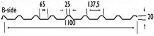 W-20 / 1100 Trapezblech 35µm Strukturpolyester
