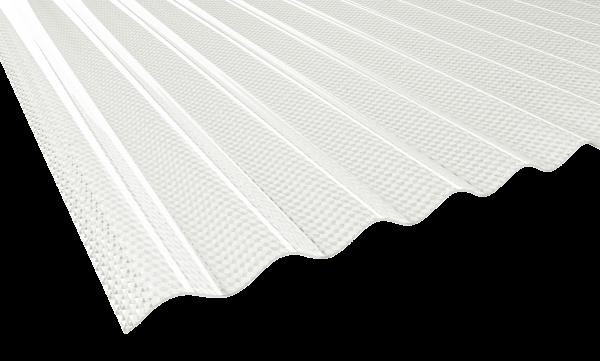 2,5 mm PVC-Lichtwellplatten Wabe Profil 76/18 | klar bläulich